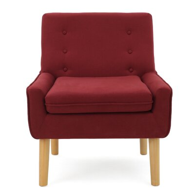 Reese Tufted Fabric Retro Slipper Chair Upholstery: Red