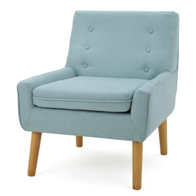 Reese Tufted Fabric Retro Slipper Chair Upholstery: Light Blue