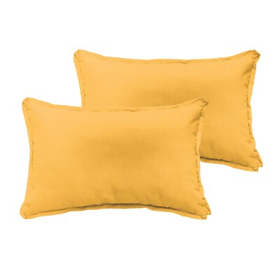Branan Indoor/Outdoor Pillow Set Color: Butter Yellow, Size: 12 H x 20 W x 6 D