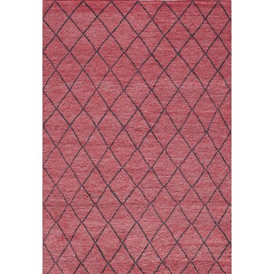 Brice Hand-Knotted Red Area Rug Rug Size: 36 x 56