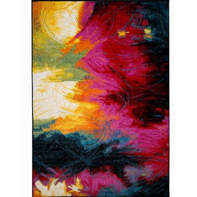 Brannigan Black/Pink Area Rug Rug Size: Rectangle 52 x 72
