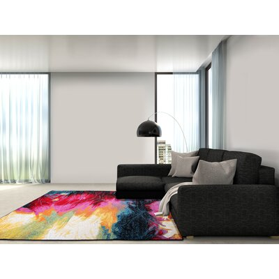 Brannigan Black/Pink Area Rug Rug Size: 92 X 125