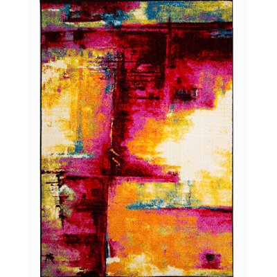 Brannigan Pink/Yellow Area Rug Rug Size: Rectangle 710 x 102