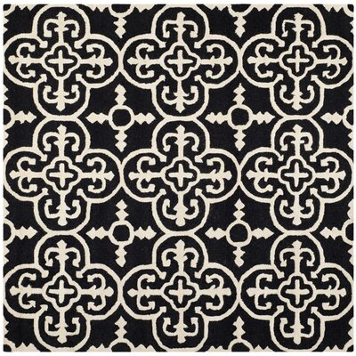 Darla Black/Ivory Wool Area Rug Rug Size: Square 6