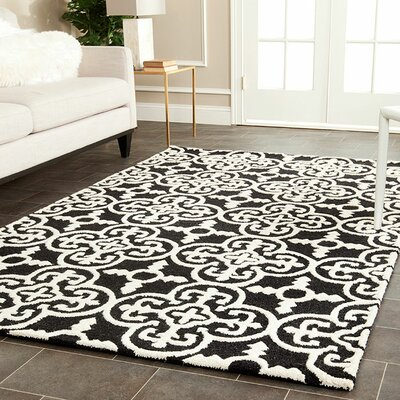 Darla Black/Ivory Wool Area Rug Rug Size: Runner 26 x 10