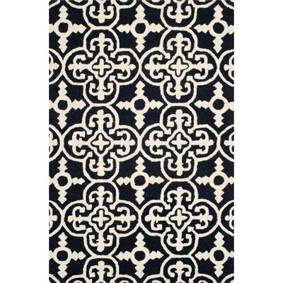 Darla Black/Ivory Wool Area Rug Rug Size: Rectangle 6 x 9