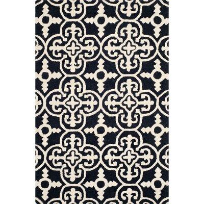 Darla Black/Ivory Wool Area Rug Rug Size: 5 x 8