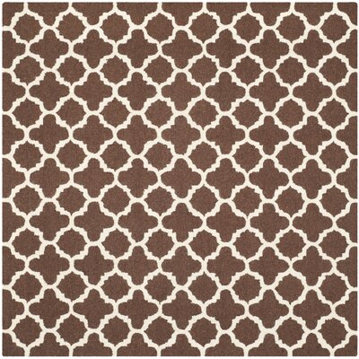 Darla Dark Brown/Ivory Trellis Area Rug Rug Size: Square 6