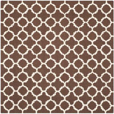 Ruben Dark Brown/Ivory Area Rug Rug Size: Square 6