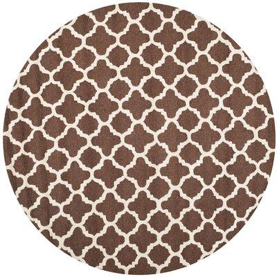 Darla Dark Brown/Ivory Trellis Area Rug Rug Size: Round 6