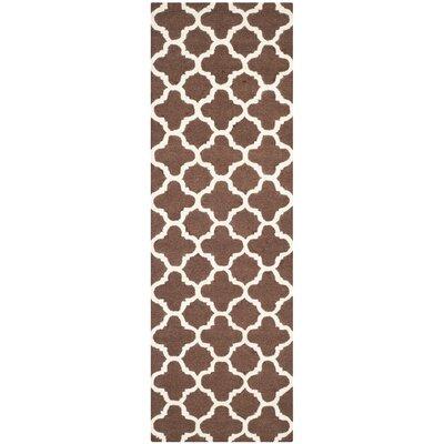 Darla Dark Brown/Ivory Trellis Area Rug Rug Size: Runner 26 x 12