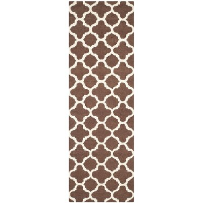 Ruben Dark Brown/Ivory Area Rug Rug Size: Runner 26 x 12
