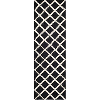 Martins Hand-Tufted Wool Black/White Area Rug Rug Size: Runner 26 x 8