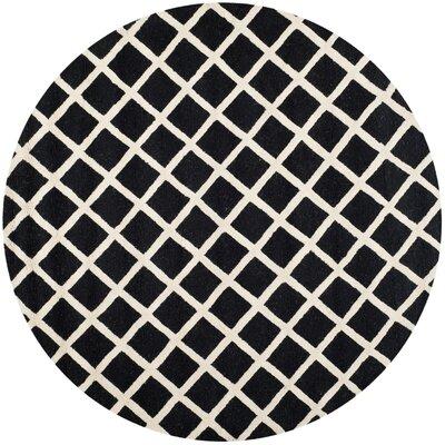 Darla Black/Ivory Geometric Area Rug Rug Size: Round 6'
