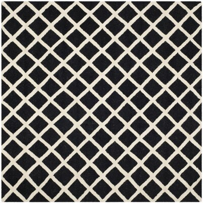 Martins Hand-Tufted Wool Black/White Area Rug Rug Size: Square 6