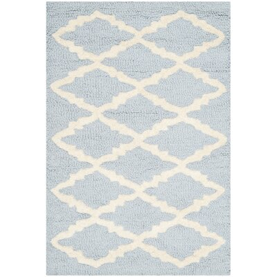 Darla Hand-Tufted Wool Light Blue/Ivory Area Rug Rug Size: Rectangle 3 x 5