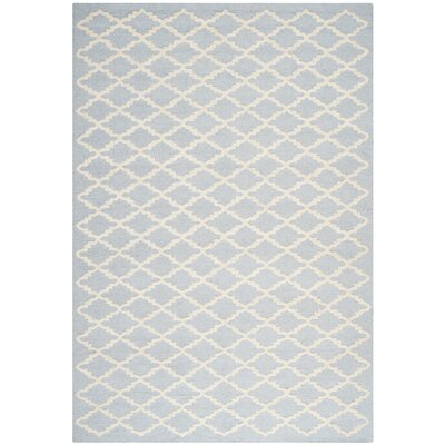 Darla Hand-Tufted Wool Light Blue/Ivory Area Rug Rug Size: Rectangle 4 x 6