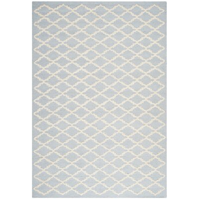 Darla Hand-Tufted Wool Light Blue/Ivory Area Rug Rug Size: Rectangle 5 x 8