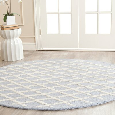 Darla Hand-Tufted Wool Light Blue/Ivory Area Rug Rug Size: Round 6