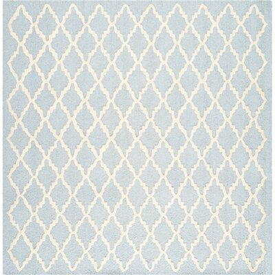 Darla Hand-Tufted Wool Light Blue/Ivory Area Rug Rug Size: Square 6