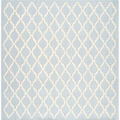 Darla Light Blue / Ivory Area Rug Rug Size: Square 6