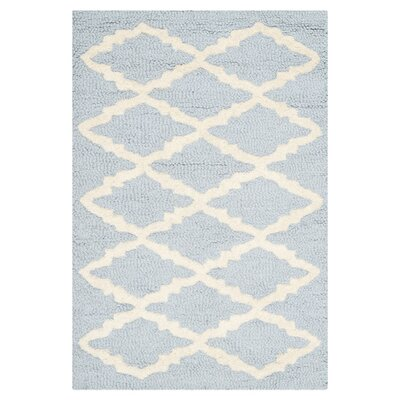 Darla Hand-Tufted Wool Light Blue/Ivory Area Rug Rug Size: Rectangle 2 x 3