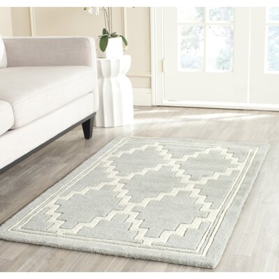 Greaves Hand-Tufted Gray/Ivory Area Rug Rug Size: Rectangle 89 x 12