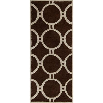 Darla Dark Brown/Ivory Geometric Area Rug Rug Size: Runner 26 x 6