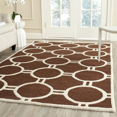 Darla Dark Brown/Ivory Geometric Area Rug Rug Size: 9 x 12