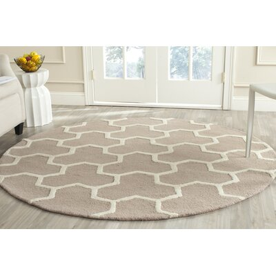 Darla Beige/Ivory Wool Area Rug Rug Size: Round 6