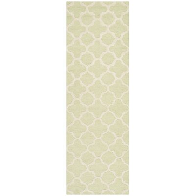 Martins Hand-Tufted Wool Light Green/Ivory Area Rug Rug Size: Runner 26 x 6