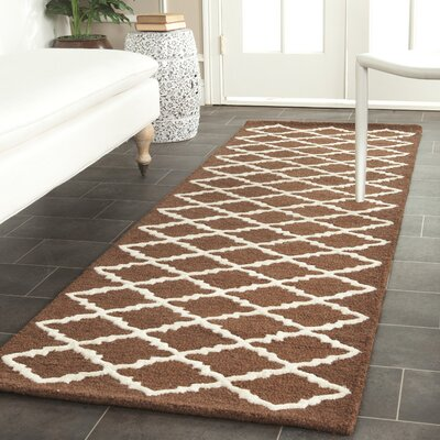 Darla Dark Brown Geometric Area Rug Rug Size: Runner 26 x 8