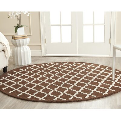 Darla Dark Brown Geometric Area Rug Rug Size: Round 6