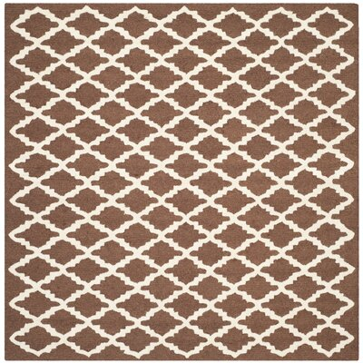Darla Dark Brown Geometric Area Rug Rug Size: Square 6
