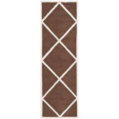Darla Hand-Tufted Wool Dark Brown/Ivory Area Rug Rug Size: Runner 26 x 8