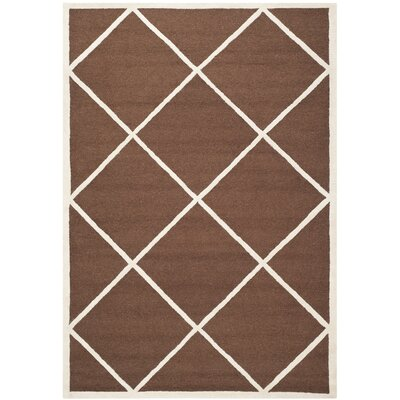 Darla Dark Brown Wool Area Rug Rug Size: 6 x 9