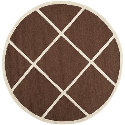 Darla Hand-Tufted Wool Dark Brown/Ivory Area Rug Rug Size: Round 6