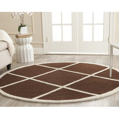 Darla Dark Brown Wool Area Rug Rug Size: Round 6'
