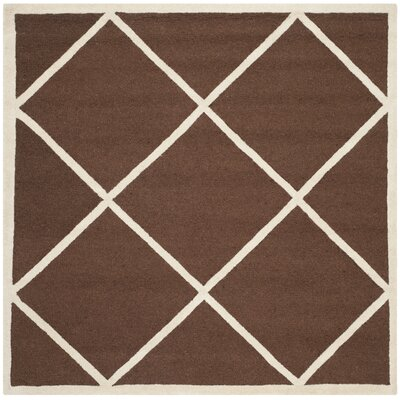 Darla Hand-Tufted Wool Dark Brown/Ivory Area Rug Rug Size: Square 6