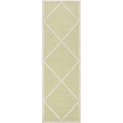 Martins Hand-Tufted Wool Light Green/Ivory Area Rug Rug Size: Runner 26 x 8