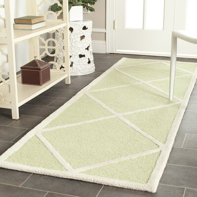 Darla Light Green/Ivory Wool Area Rug Rug Size: Runner 26 x 8