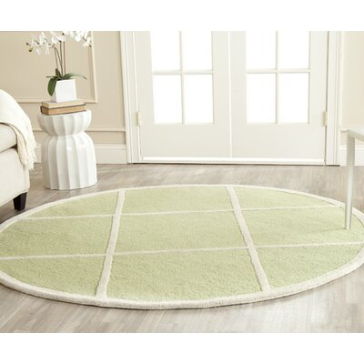 Darla Light Green/Ivory Wool Area Rug Rug Size: Round 6