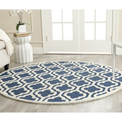 Darla Hand-Tufted Wool Navy/Ivory Area Rug Rug Size: Round 6