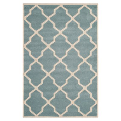 Wilkin Hand-Tufted Wool Blue/Ivory Area Rug Rug Size: Square 9
