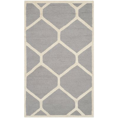 Martins Hand-Tufted Wool Silver/Ivory Area Rug Rug Size: Rectangle 4 x 6
