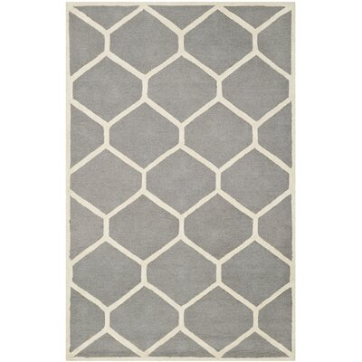 Darla Hand-Tufted Wool Gray/Ivory Arae Rug Rug Size: Rectangle 5 x 8