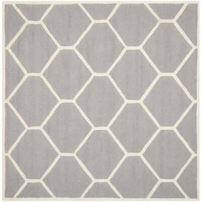 Martins Hand-Tufted Wool Silver/Ivory Area Rug Rug Size: Square 6