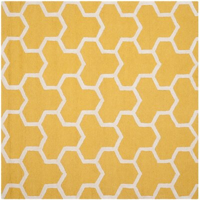 Darla Gold/Ivory Area Rug Rug Size: Square 6