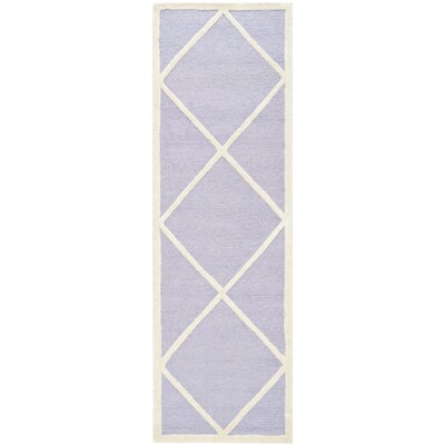 Martins Hand-Tufted Wool Lavander/Ivory Area Rug Rug Size: Runner 26 x 8