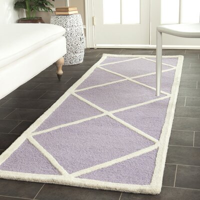 Darla Lavender/Ivory Area Rug Rug Size: Runner 26 x 8